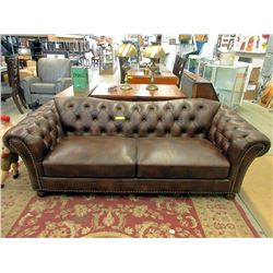 "New 89"" Brown Leather Sofa"