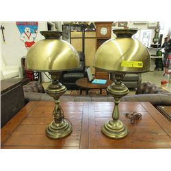 "Pair of 25"" Tall Metal Table Lamps"