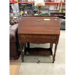 Vintage Solid Walnut Secretary Desk ca1940