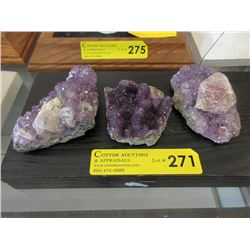 3 Piece Lot of Amethyst Crystal Formation