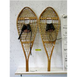 "Pair of Wood ""Torpedo"" Beaver Tail Snowshoes"