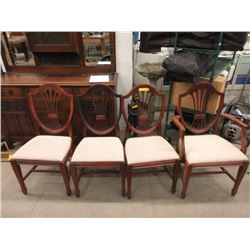 Set of 4 Vintage Mahogany Shield Back Chairs ca1940