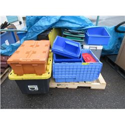 Skid of Assorted Containers & Baskets
