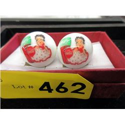 "Pair of Coca-Cola / Betty Boop Marbles - 1"" Dia"