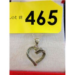 Vintage Sterling Silver & Marcasite Heart Necklace