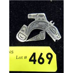 Signed Sterling Silver Haida Whale Brooch