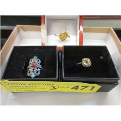 3 Sterling Silver & Gemstone Rings