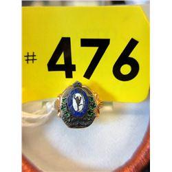 Vintage 10KT Gold & Enamel Canadian Military Ring