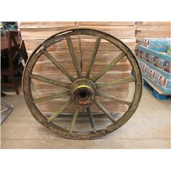 "Vintage Metal Rimmed 43"" Wagon Wheel"