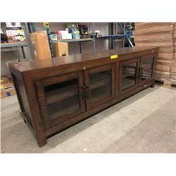 New Wood TV Stand with 4 Glass Doors