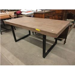 New LH Imports Wood Top Industrial Style Table