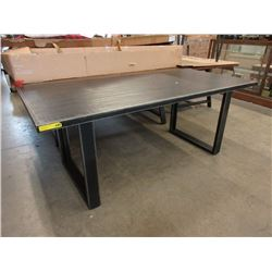 New LH Imports Dining Table w/ Wood Frame & Edge