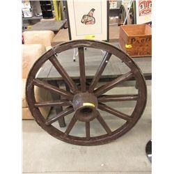 Vintage Metal Edge Wood Wagon Wheel