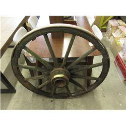 Vintage Metal Rimmed Wood Wagon Wheel