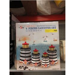New 4 Piece Lighthouse Canister Set