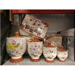 4 New 4 Piece Ceramic Canister Sets