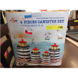 New 4 Piece Ceramic Lighthouse Canister Set