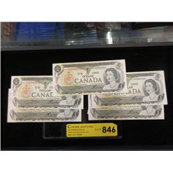 Five 1973 Sequentially Numbered Canadian $1 Bills