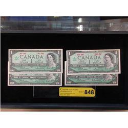 4 Mint Uncirculated Canadian Centennial $1 Bills