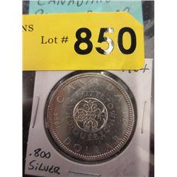 1964 Canadian Silver Dollar Coin - .800 Silver
