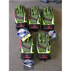 "5 Pairs of Rawktech ""RazorBack Gloves - Size XL"