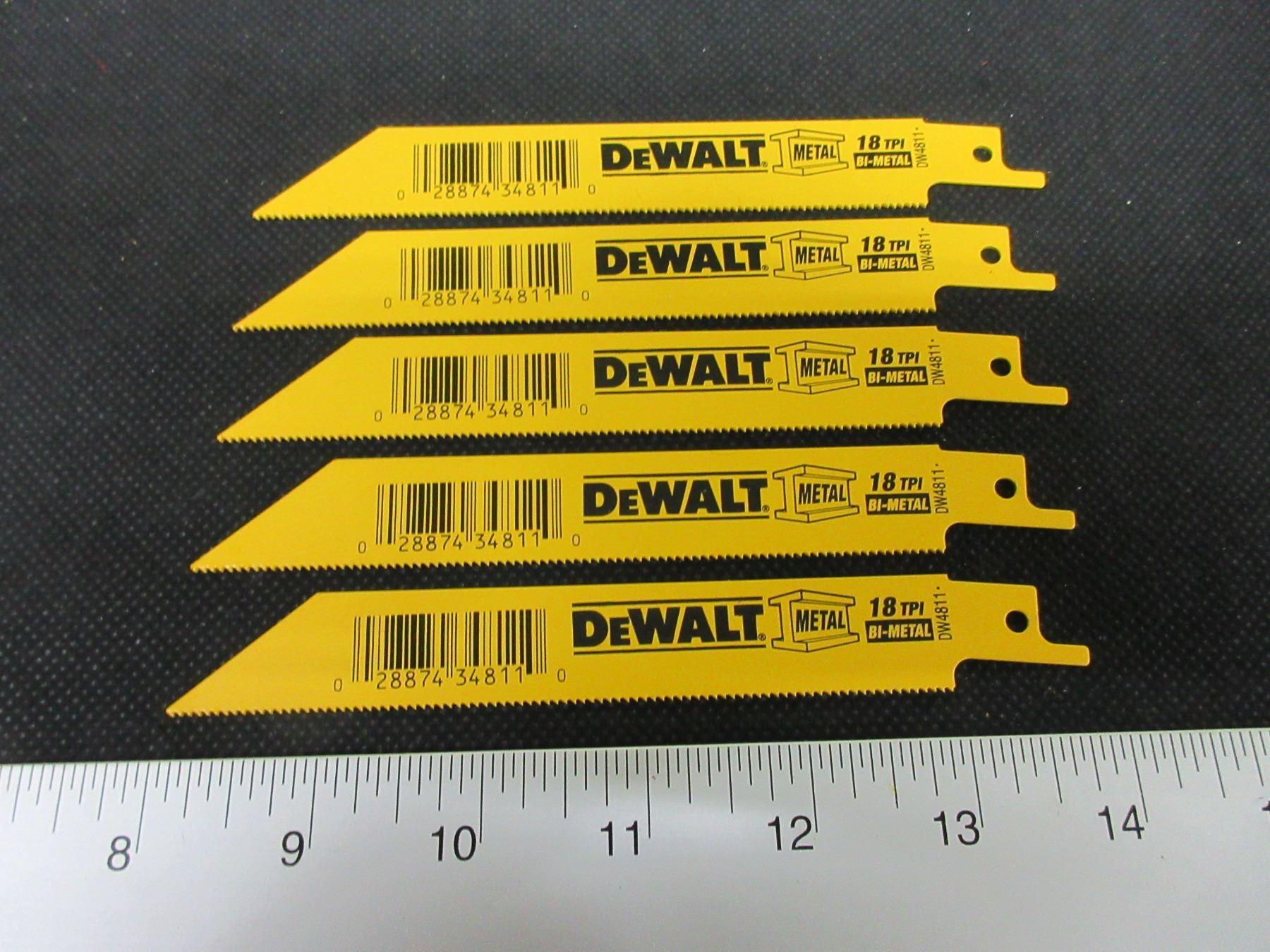 Image 1 5 New DeWalt Recip Sawzall Blades Bi Metal 6 Inch DW4811