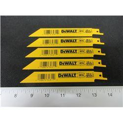 5 New DeWalt Recip/Sawzall Blades Bi-Metal 6 inch DW4811