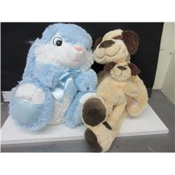 2 New Medium size Stuffed Animals / Dog & Pup & Bunny / they are super soft