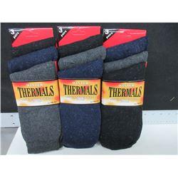 New 3 Packs of 3 Mens Winter Thermal Socks USA 10-13 / 9 pairs total