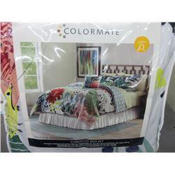 New Queen  8 piece Comforter Complete Bed set / Tropical Hummingbird