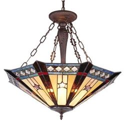 """SIRIUS"" Tiffany-style Goemetirc 3 Light Inverted Ceiling Pendant 25"" Shade"