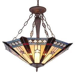 SIRIUS  Tiffany-style Goemetirc 3 Light Inverted Ceiling Pendant 25  Shade