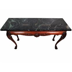 Chippendale Style Marbletop Carved Console Table