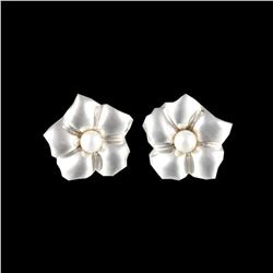 Tiffany & Co. Flower Pierced Earrings Sterling Silver