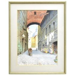 Signed Watercolor, Roman Street Scene