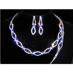 3PC Royal Blue, Clear Rhinestones Necklace, Earrings & Bracelet Set