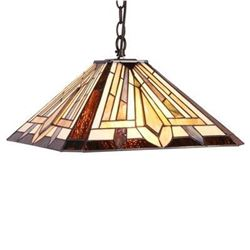 """DENTON"" Tiffany-style 2 Light Mission Hanging Pendant Fixture 16"""