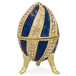 "Faberge Inspired 2.5"" Crystal Spire on Blue Enamel Royal Inspired Russian Egg"