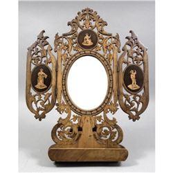 19thc Italian Olivewood Folding Mirror Music Stand