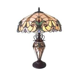 """LIAISON"" Tiffany-style 3 Light Victorian Double Lit Table Lamp 18"" Shade"