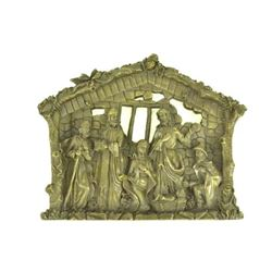 "Baby Jesus, Mary & 3 Magi Nativity Scene Bronze Wall Sculpture 10"" x 12.5"""