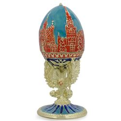 Moscow Kremlin on Double-Head Eagle Royal Inspired Russian Egg 4.25 Inches