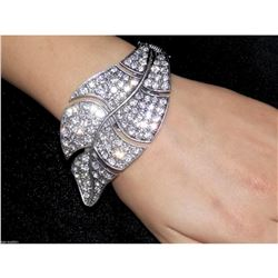 Glamorous Clear Crystal Leaf Hinge Bracelets / Bangle / Cuff