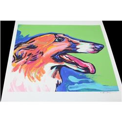Russian Borzoi Wolfhound, Signed Pop Art Print