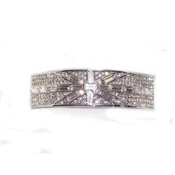 Clear Cubic Zircon Baguette Cut Silver Bracelet