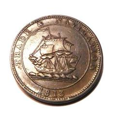 1813 Nova Scotia Half Penny Token - Trade and Navigation