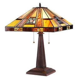"""ELY"" Tiffany-style 2 Light Mission Table Lamp 16"" Shade"