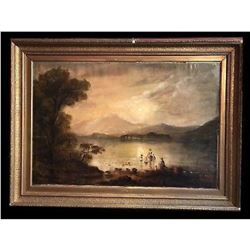 Victorian Scottish Romantic Loch Scene - Figures Washing Laundry Loch