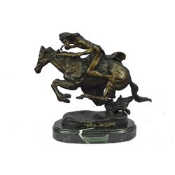 "CHEYENNE by Frederic Remington Bronze Sculpture of Native American Warrior 8"" x 10"""
