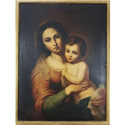 19thc Madonna & Child, Chromolithograph on Canvas
